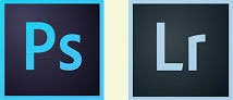 Adobe Photoshop and Lightroom logos