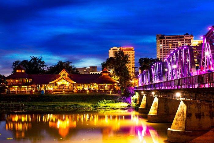 Chiang Mai Ping River and Iron Bridge at Night
