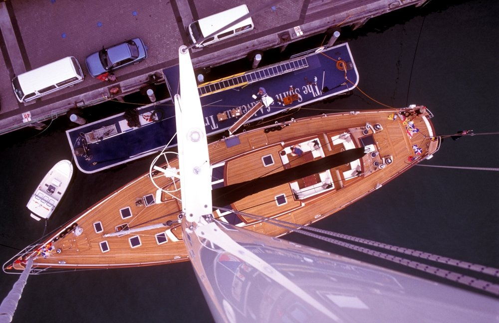 Looking down from the top of a yacth mast. photography portfolio