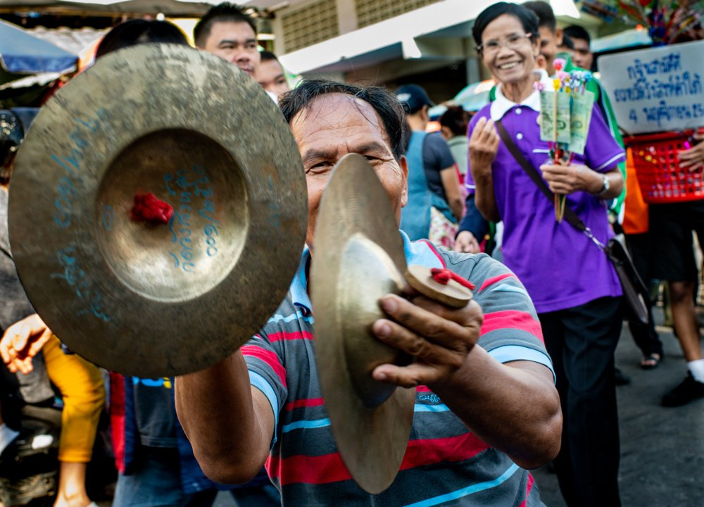 Market Cymbal Player during a Chaing Mai Photo Workshop at Maung Mai Markets, Thailand